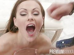 Premium bukkake - tina kay swallows 68 big loads and got dp clip
