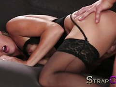 Strapon double penetration strap on paradise for blonde movies at kilomatures.com