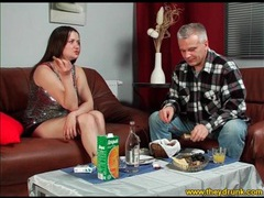 Cutie in sparkly top drinks and eats with guy videos