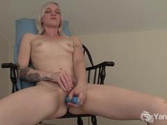 Tattooed blonde ari fucks a blue dildo movies at find-best-lingerie.com