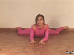 Tight pink spandex outfit on hot brunette videos