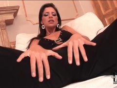 Bambi is strikingly sexy in a black catsuit movies at kilopics.net