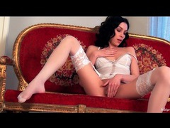 Beauty in delicate white lingerie masturbates videos