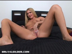 Blonde larin has a deep throat and wet pussy that swallows big dildos videos