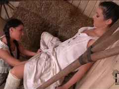 Lesbians in farm girl dresses fool around movies