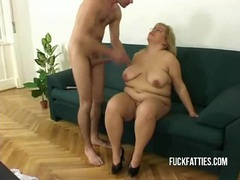 Hot fat horny slut freezes - repairman helps her get warm! movies at lingerie-mania.com