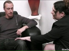 Bbw therapist sucks his dick on couch movies at freekiloclips.com
