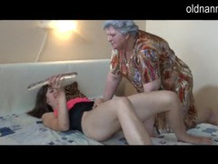 Horny chubby grandma masturbating with lesbian gf movies at kilotop.com