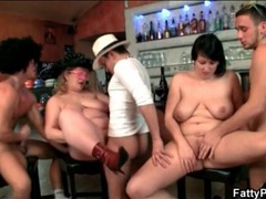 Fat chicks on bar stools fucked in hot orgy movies at lingerie-mania.com
