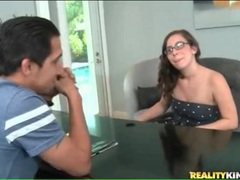 Nerdy girl alexa amore does splits on couch tubes