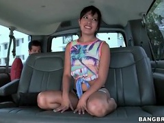 Petite girl strips in the car and shows her pussy videos