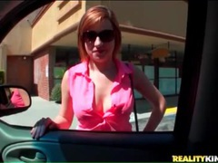 Topless sasha casey sucks cock in car movies at sgirls.net