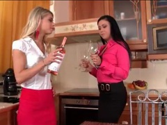 Girls in classy outfits suck cock in kitchen movies
