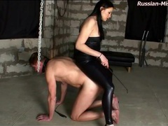 Tight leather on mistress abusing him movies