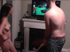 Couple plays wii golf and fools around videos