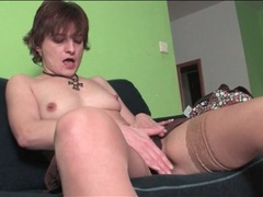 Milf in stockings sensually rubs her pussy videos