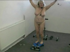 Curvy granny dances naked in the gym videos