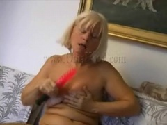 Blonde granny masturbates with red dildo movies
