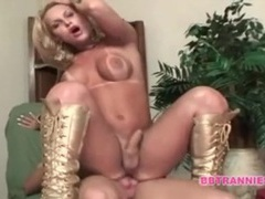 Shiny golden boots on tranny doing bb porn movies at kilotop.com