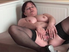 Old lady in stockings masturbates hairy pussy videos