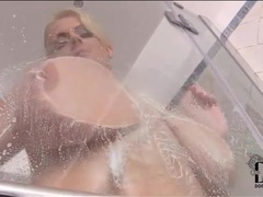 Huge natural titties girl plays in shower videos