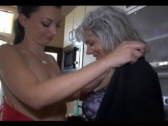 Old and young lesbian sex in kitchen tubes