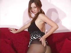 Gorgeous brunette in stockings movies at kilosex.com