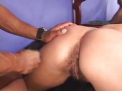 Hot girl gets her tits sucked and hairy pussy licked by black guy movies at freekiloclips.com