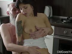 Old goes young - sexy brunette gerra and her man movies at freekilosex.com