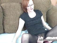 Mature glasses wearing redhead in stockings movies at kilogirls.com
