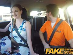 Fake driving school pink nipples big tits redhead facial tubes
