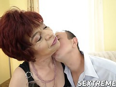 Lusty granny donatella loves riding a horny dudes hard cock movies at freekilosex.com