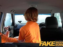 Fake driving school swotty ginger student has pussy filled videos