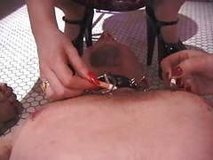 Two redhaired dominatrix torment slave through cbt and use him as an ashtray videos