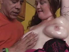 Hot bbw-milf hard interracial in the kitchen movies at kilogirls.com