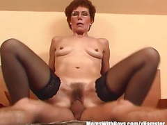 Redhead grandma in laced stockings fucks young dick videos