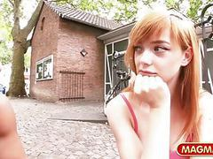 Picking up a natural redhead teen for easy cash movies at kilomatures.com