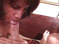 Two older women suck and tug dude's hard cock movies at kilomatures.com