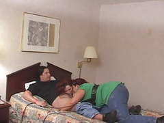 Three curvy bitches ride horny stud in bed movies at find-best-pussy.com