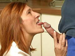 Redhead housewife takes a fucking in her kitchen movies