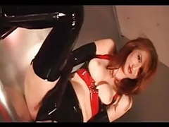 Redhead in latex gloves, stockings and high heel boots movies