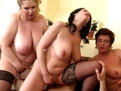 Lucky boy shared between 3 busty mothers videos