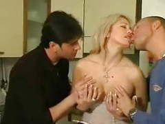 Blonde milf threesome by two guys after breakfast movies at find-best-lingerie.com
