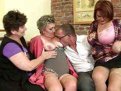 Mature mothers sharing one lucky boy's cock tubes