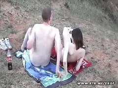 Busty amateur girlfriend sucks and fucks outdoor movies at freekiloporn.com