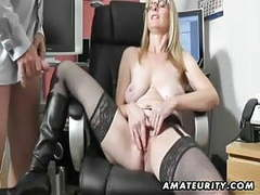 Busty amateur milf sucks and fucks with cum on boots movies at kilopics.com