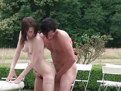Pretty young brunette hard analized by the garderner outdoor videos