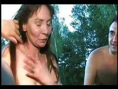 Russian milfs outdoor fun .. her hubby watch videos