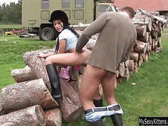 Brunette teen angelica gets nailed outdoors movies at kilopics.net