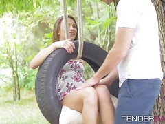 Awesome cute babe veronica clark fucked outdoor on the swing movies at find-best-pussy.com